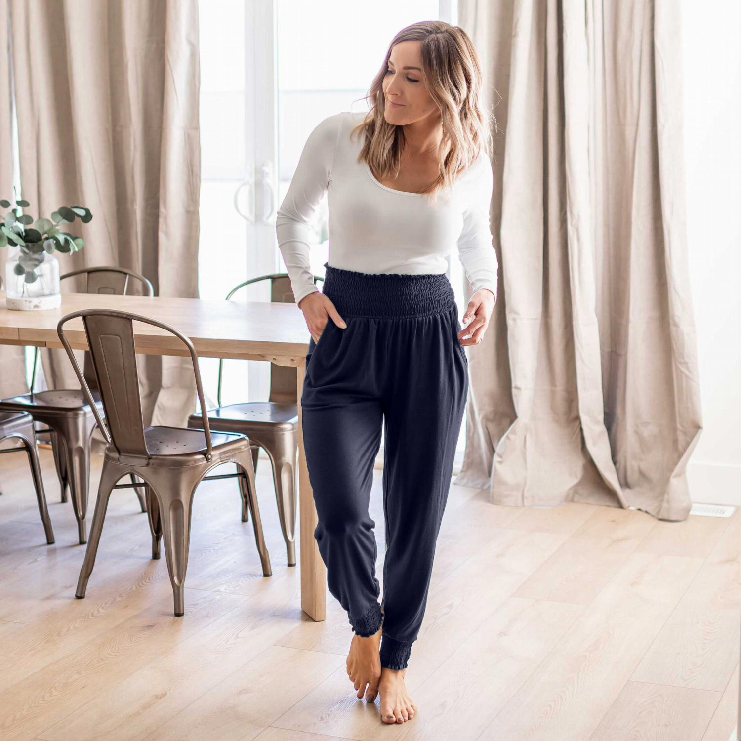 Navy High-waisted Smocked Lounge Jogger Pants