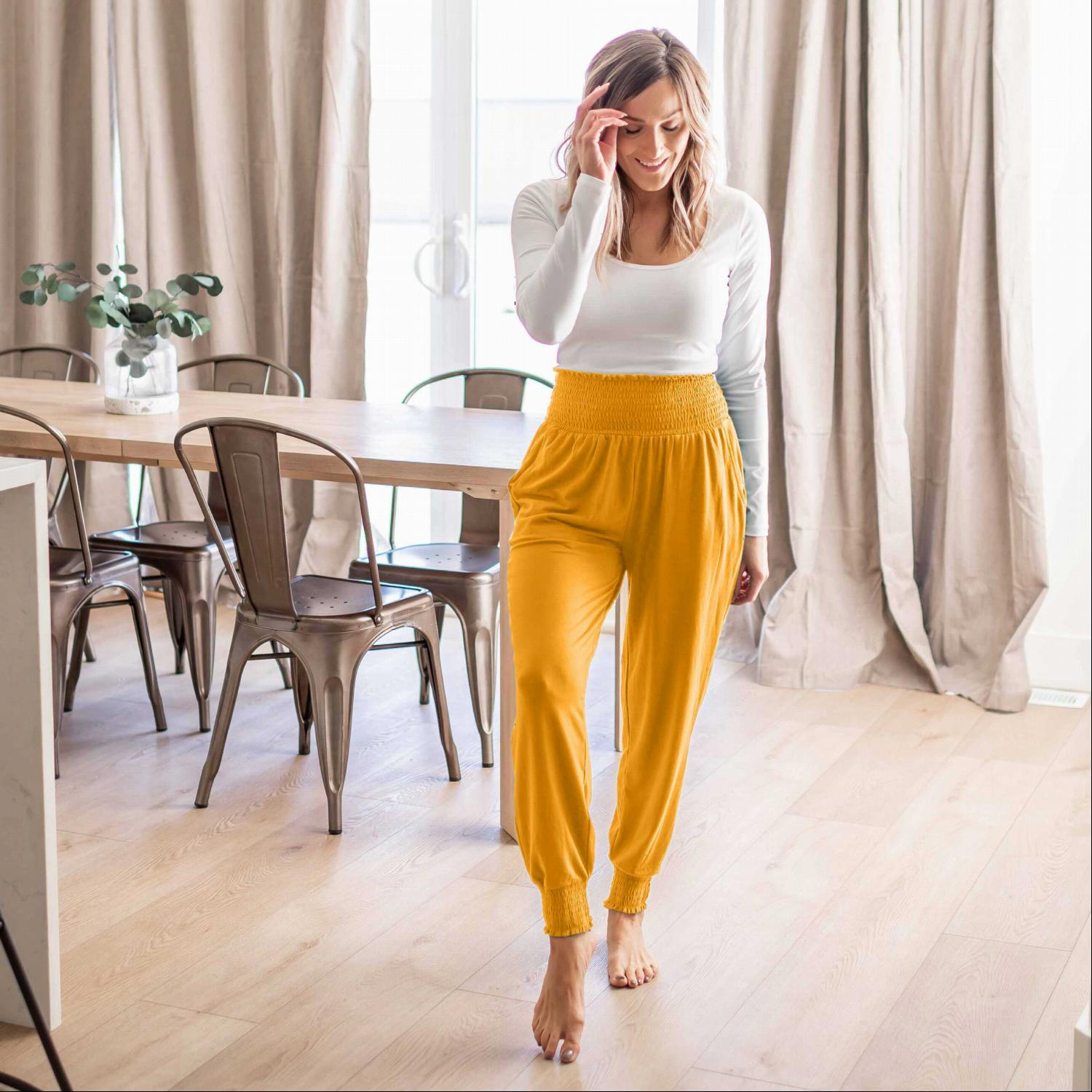 Golden Mustard High-waisted Smocked Lounge Jogger Pants