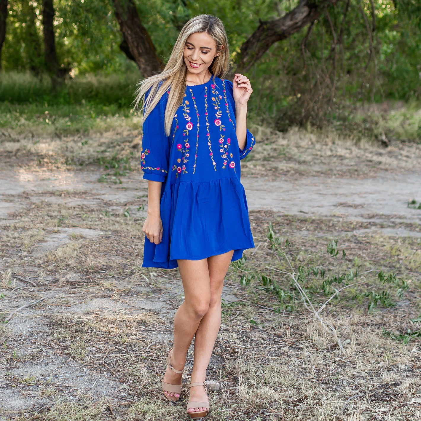 Cobalt Floral Embroidered Puff Sleeved Dress