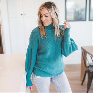Dusty Teal Victorian Sleeve Textured Turtle Neck