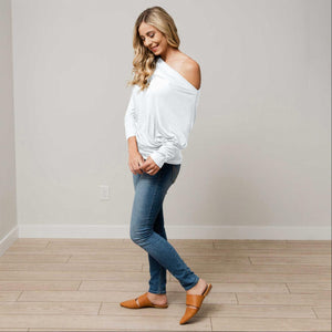 Ivory Off Shoulder Dolman Long Sleeve Top