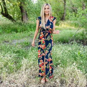 Navy Vee Neck Layer Flow Dress