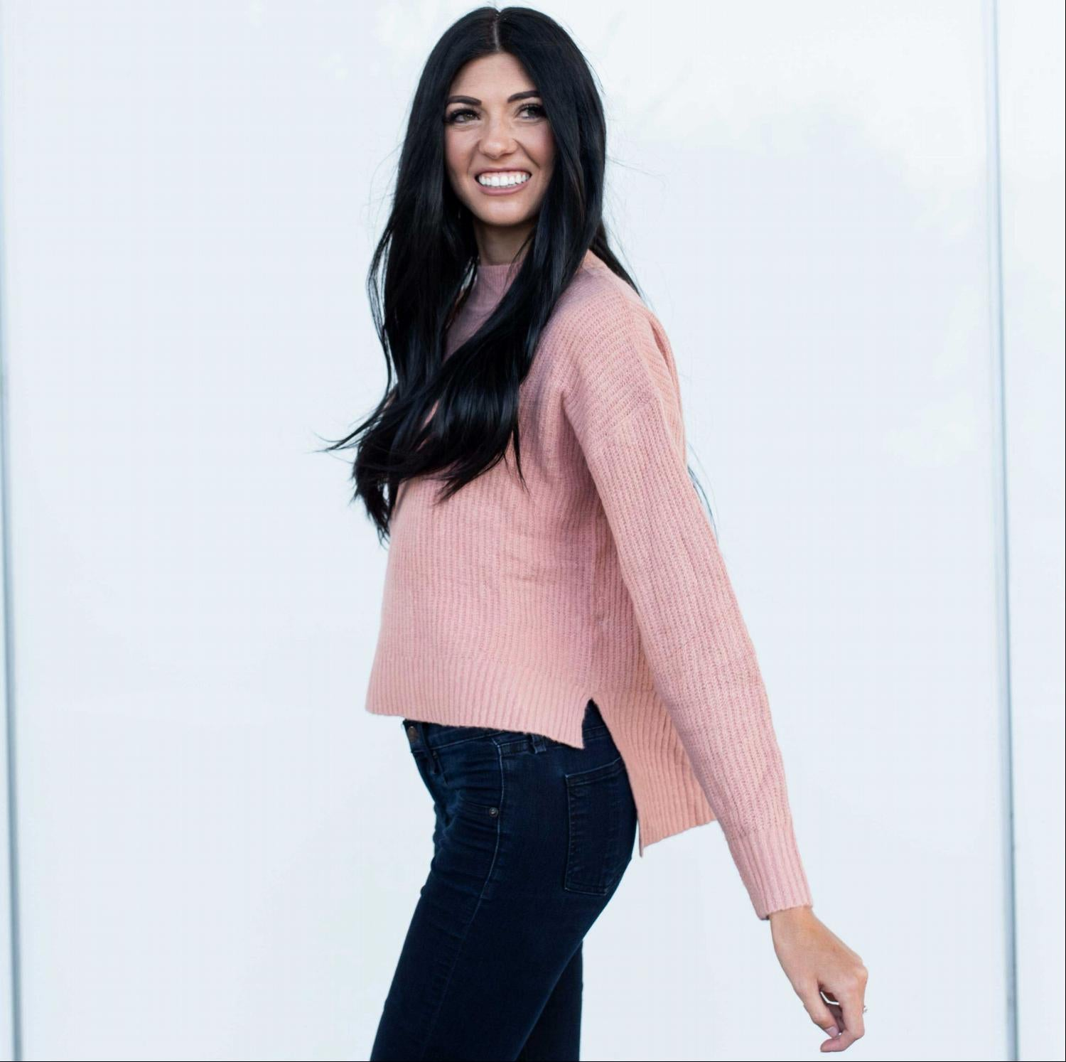 Blush MOSSY KNIT MOCK NECK LONG SLEEVE HIGH-LOW HEM SWEATER