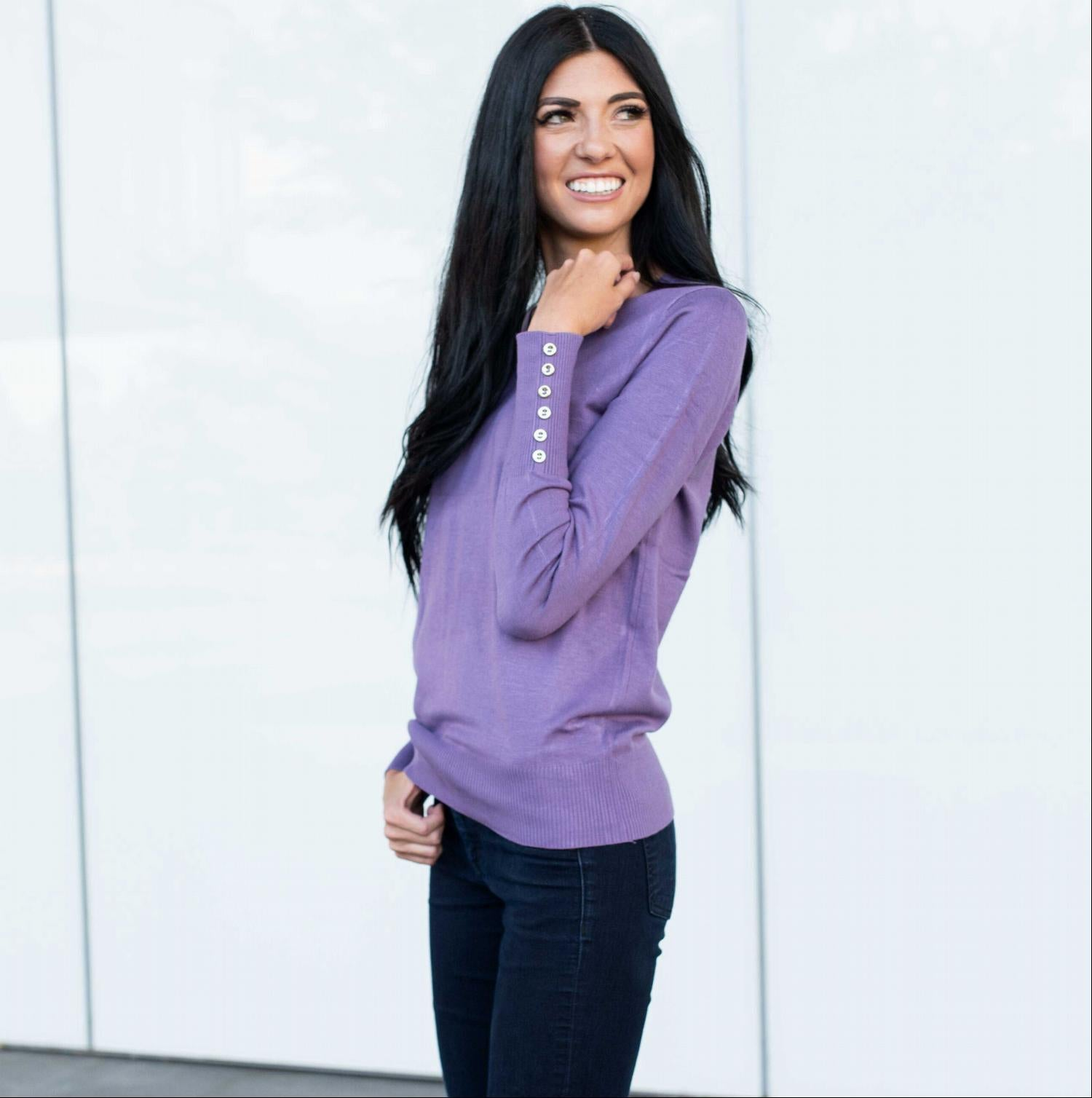 Purple Button Embellished Long Sleeve V-Neck Top  (Purple)