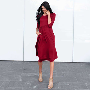 Wine Three Quarter Length Baby Doll Midi Dress