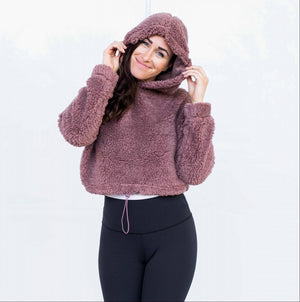 Mauve Long Sleeved Fur Hoodie Top