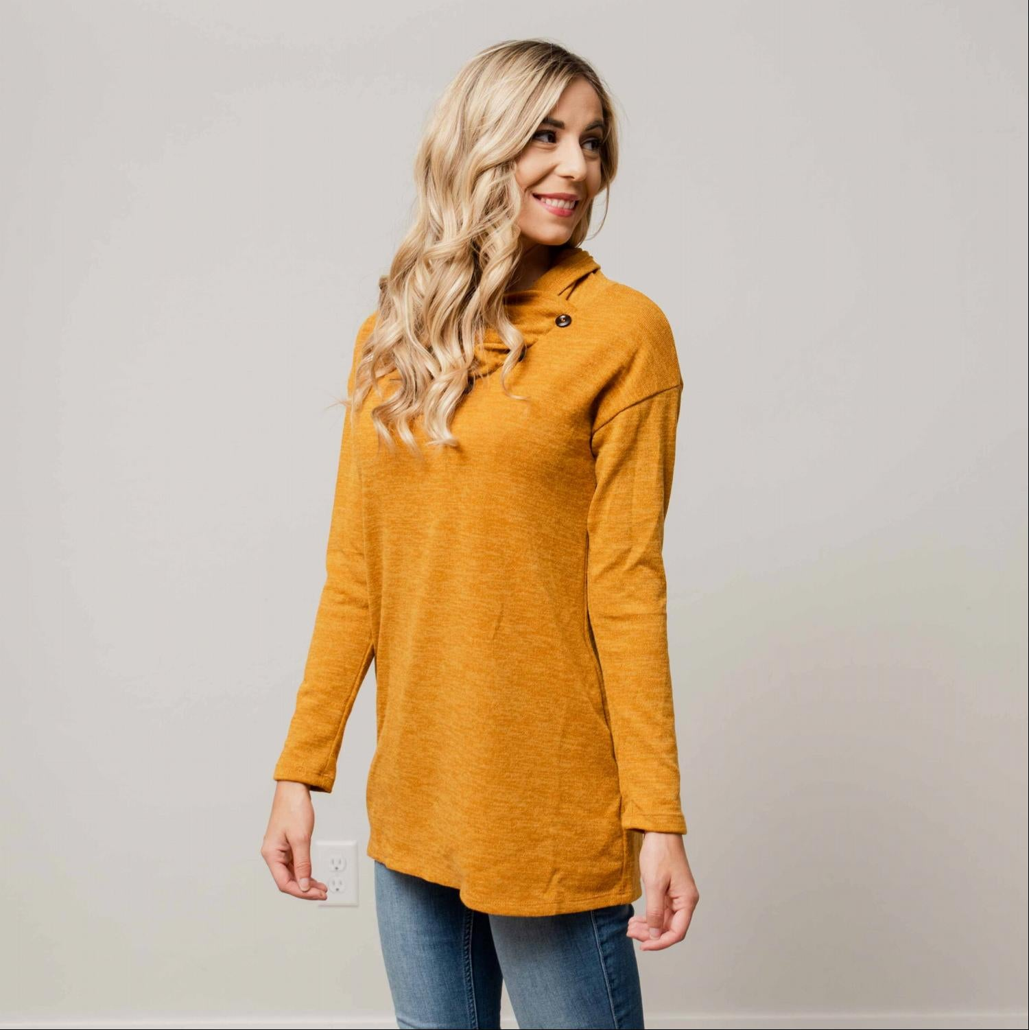 Mustard Cowl Mock Neck Long Sleeve Tunic Top With Pockets And Button Trim