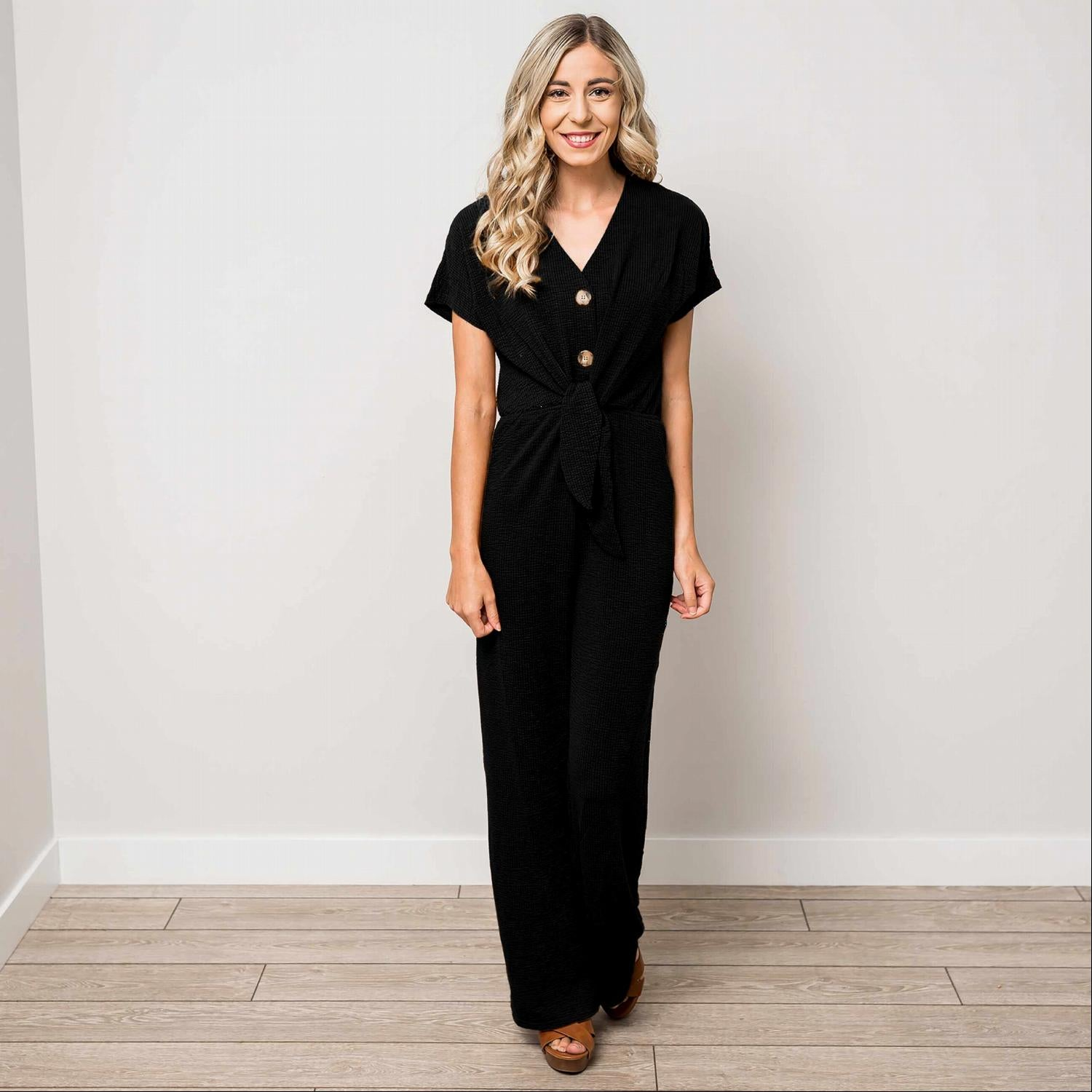 Black Textured Solid V-Neck Jumpsuit