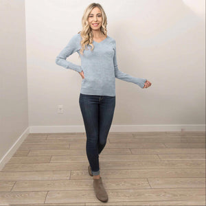 Heather Grey Women's Warm Long Sleeves Slim Fit V- Neck Pullover Tops Casual S-L USA