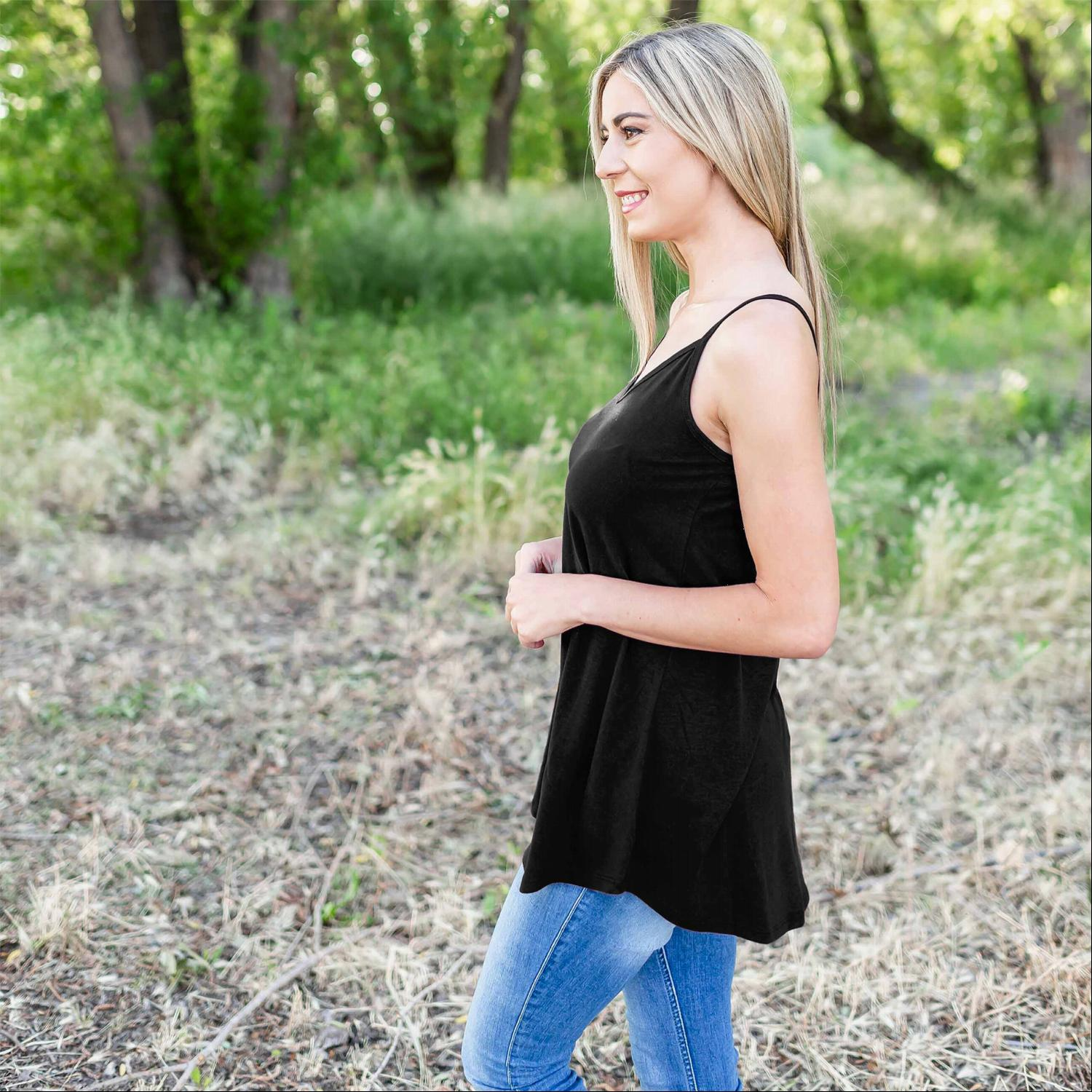 Black Bubble Crepe Camisole Top