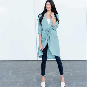 Mint Oversized Hooded Long Line Trench Jacket