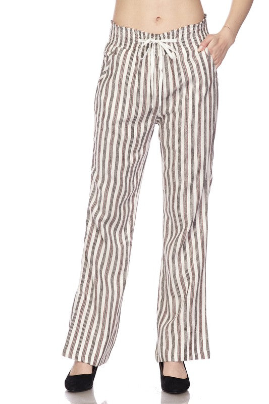 Rust Striped Palazzo Linen Pants