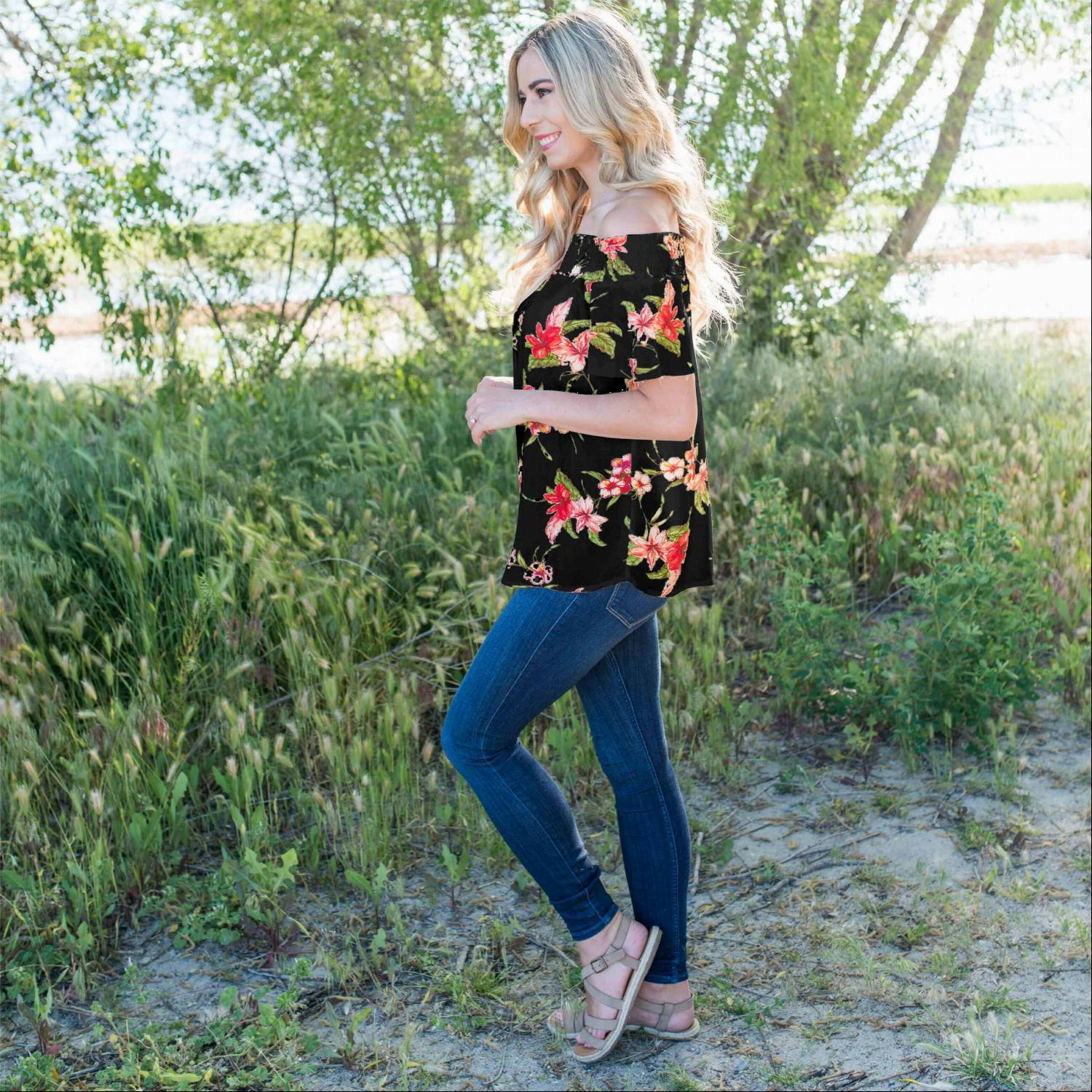Black Smocked Floral Print Off Shoulder Top