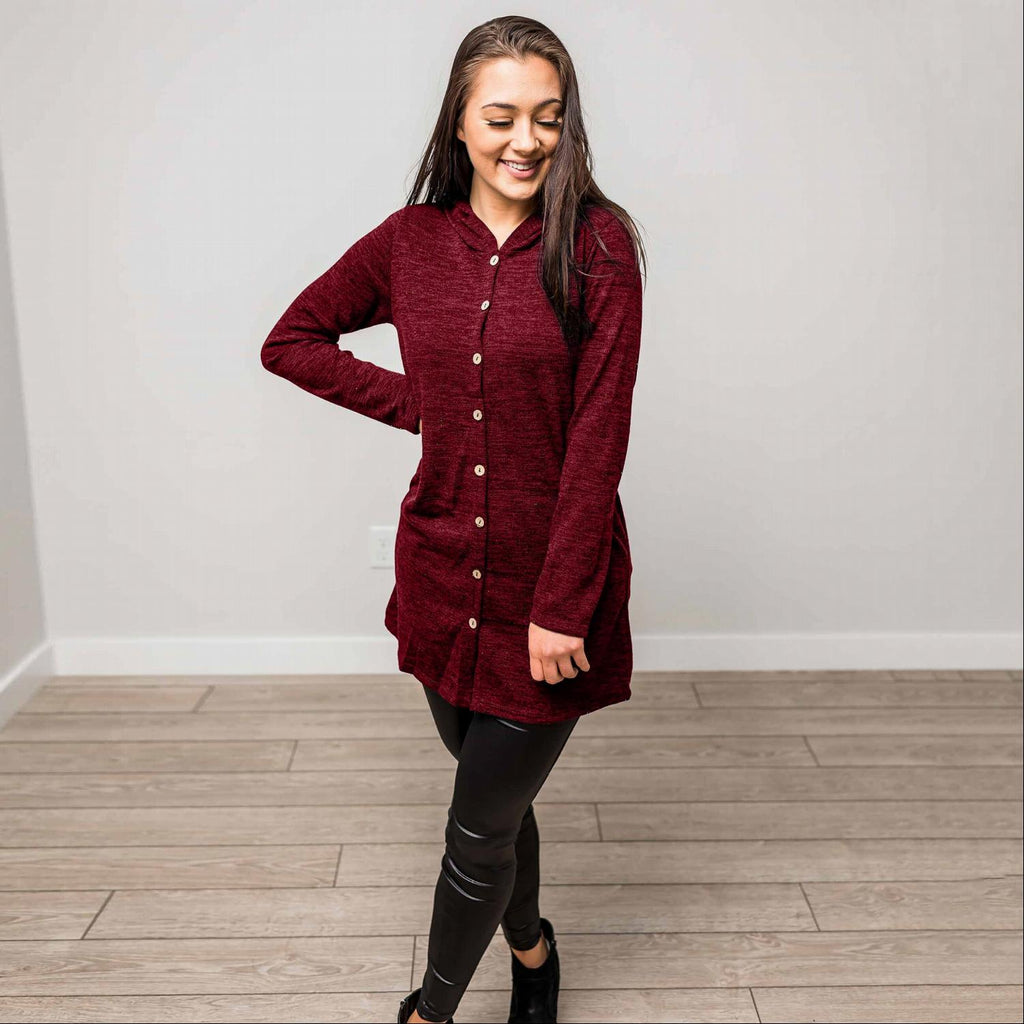 Burgundy Hacci Fabric Button Down Hooded Cardigan