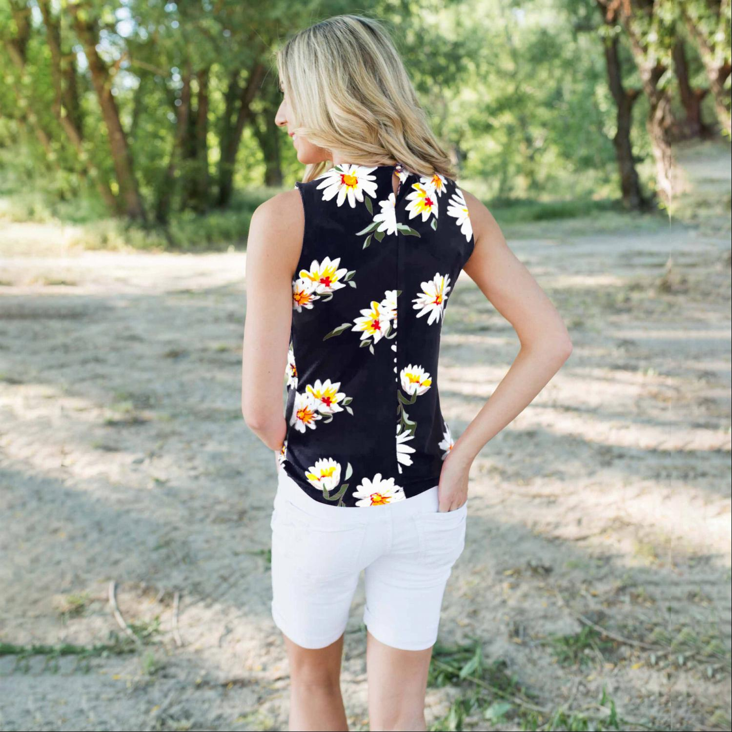 Navy Flower Printed Keyhole Top