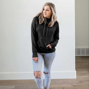 Black Women's Sweatshirt Roomy Brushed Hoodie Adjustable Drawstrings Solid Winter USA
