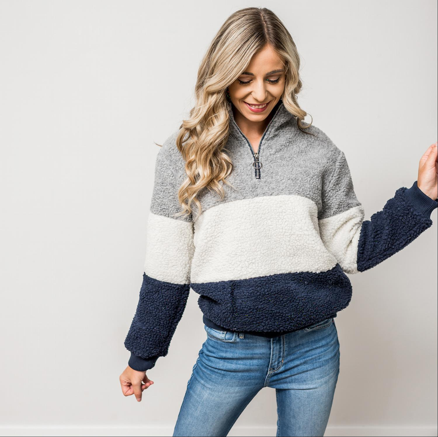 Grey SHERPA COLORBLOCK ZIPPERED MOCK NECK PULLOVER JACKET