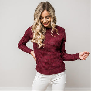 Wine Solid Lace Up Back Knit Sweater Top