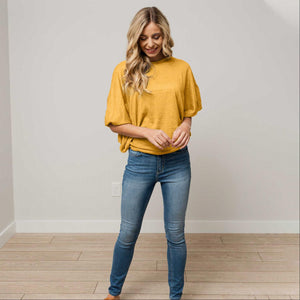 Mustard Womens Dolman Long Sleeve Solid Round Neck Loose Fit Tunic Top Comfy Casual USA