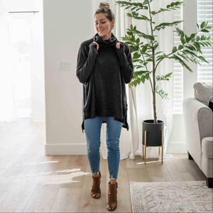 Black Brushed Melange Cowl Neck Oversized Hi-low Sweater