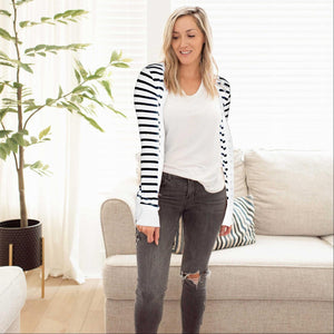 Ivory/Black Striped Sweater Cardigan