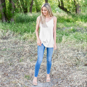White Bubble Crepe Camisole Top