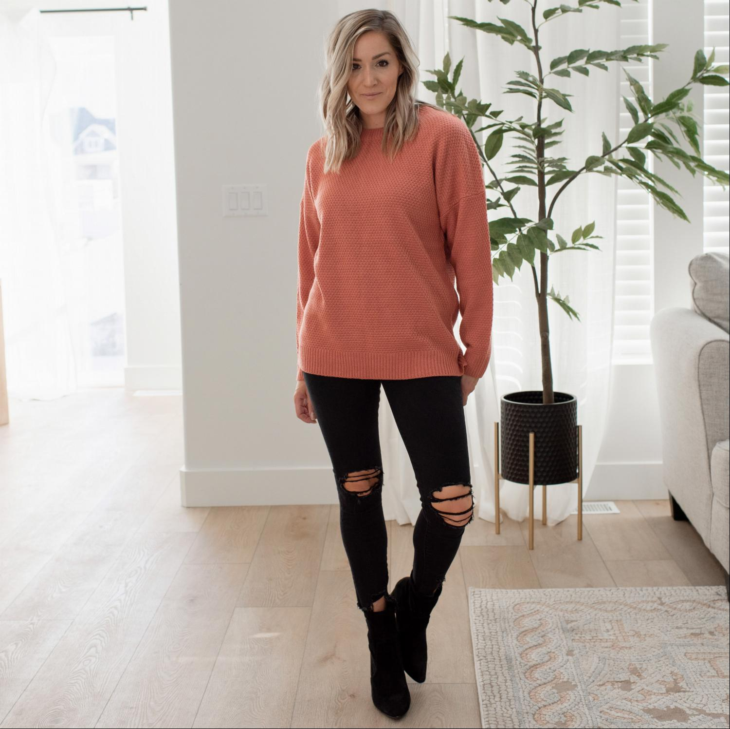 Ash Rose Round Neck Basic Sweater
