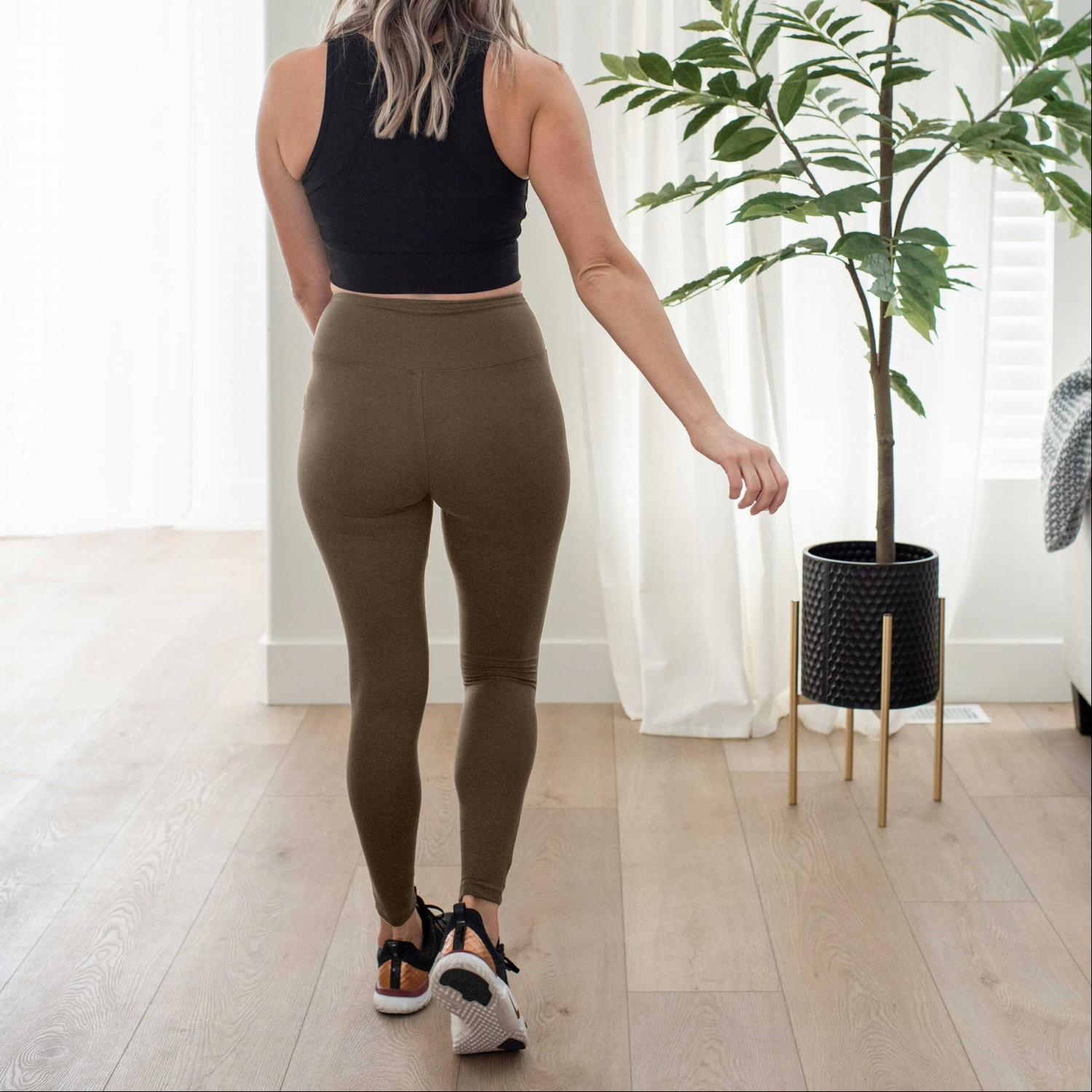 Dark Olive Premium Microfiber Wide Waistband Leggings