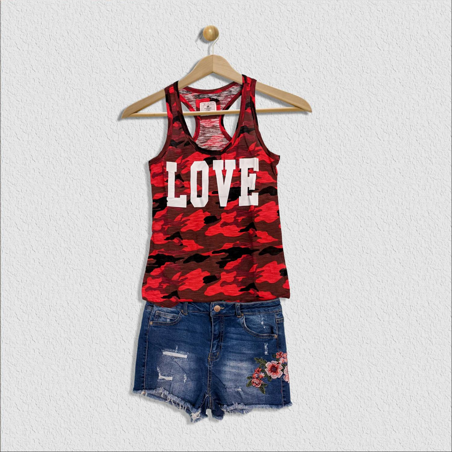 Red ARMY CAMOUFLAGE SLUB TANK TOP