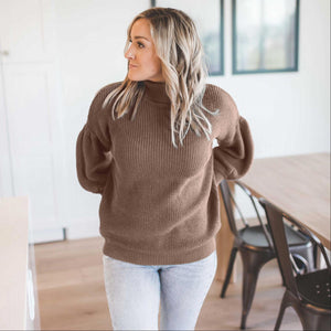 Mocha Victorian Sleeve Textured Turtle Neck