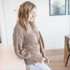 Ash Mocha Victorian Sleeve Textured Turtle Neck