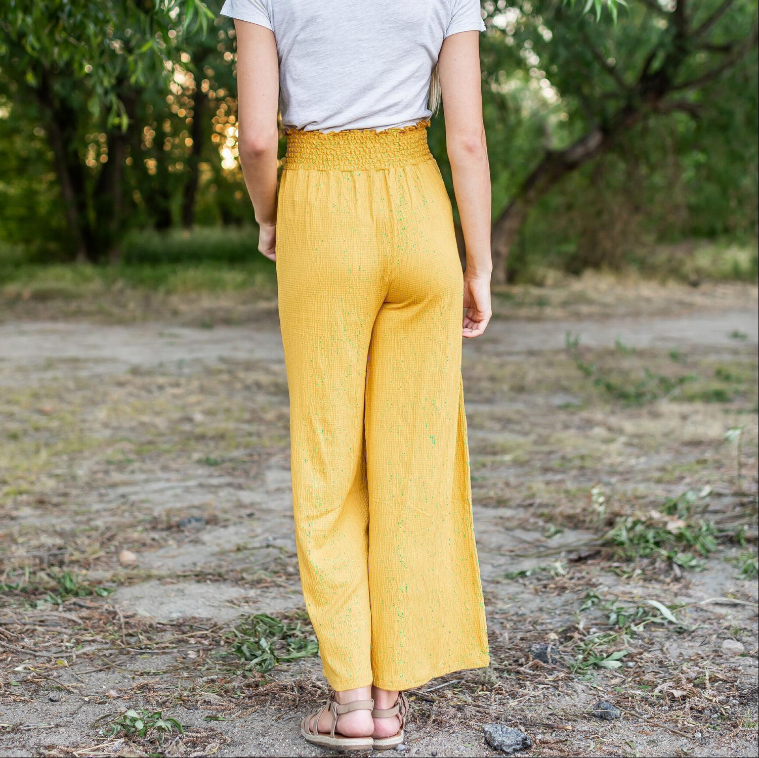 Mustard High Waist Relaxed Crinkled Pants