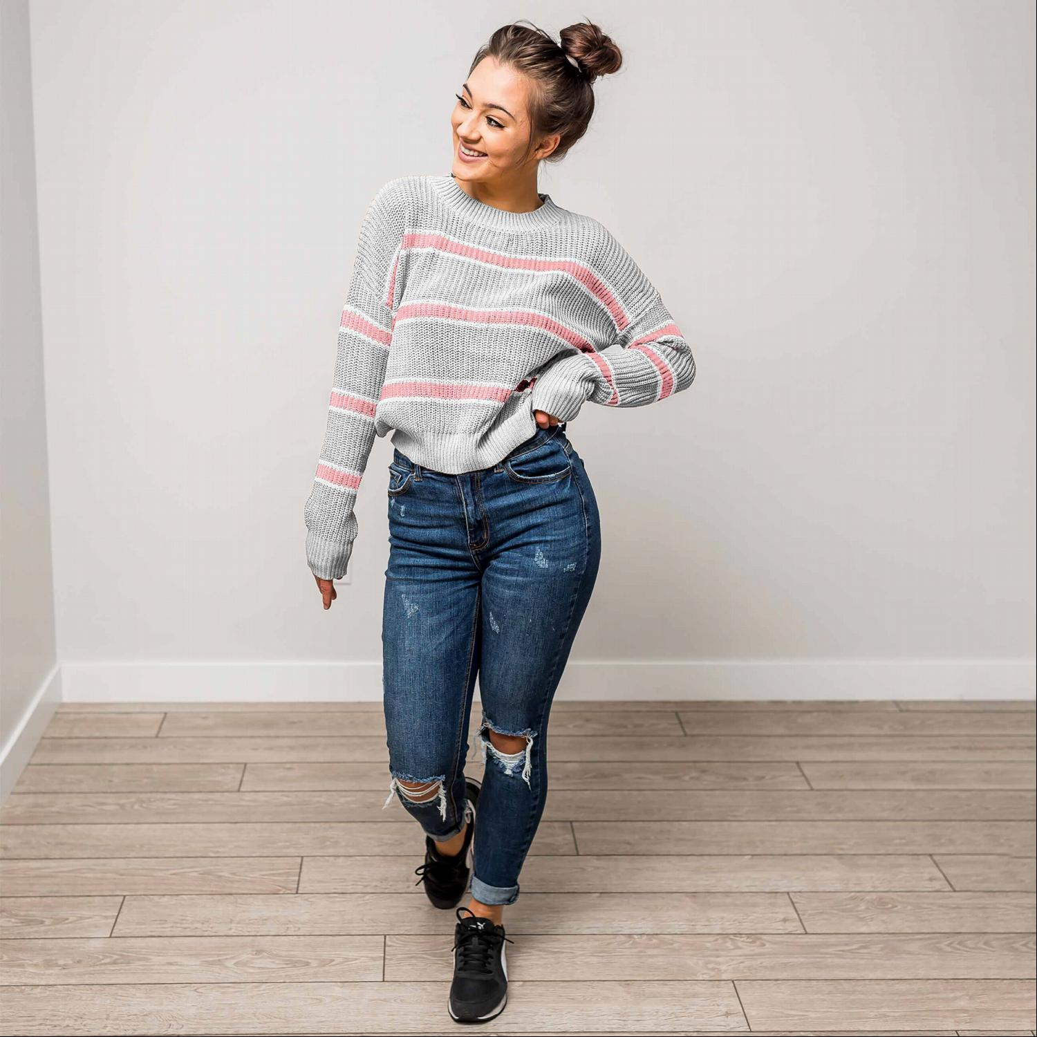 Grey Stripe Dolman Sleeve Boxy Sweater Knit Top