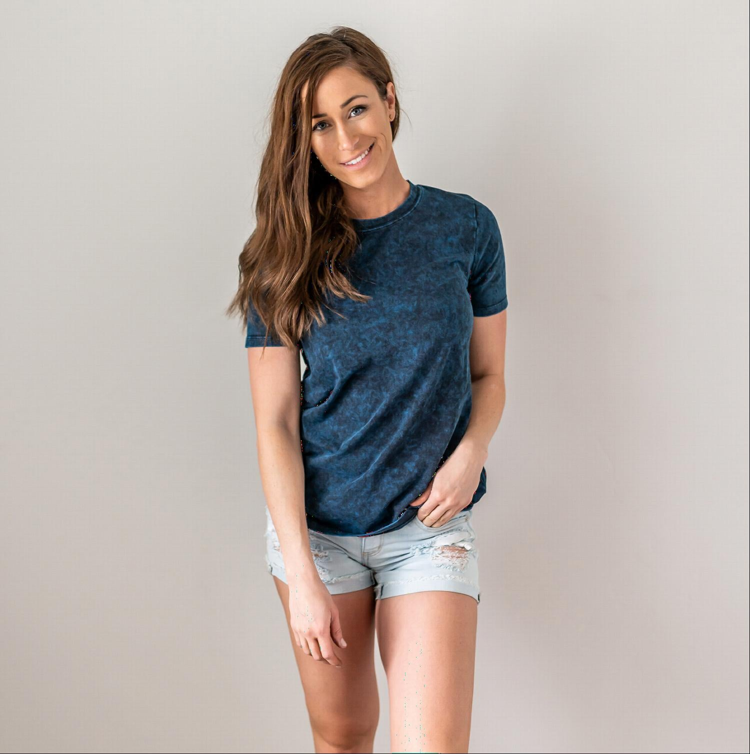 Navy Cotton Short Sleeve Round Neck Top