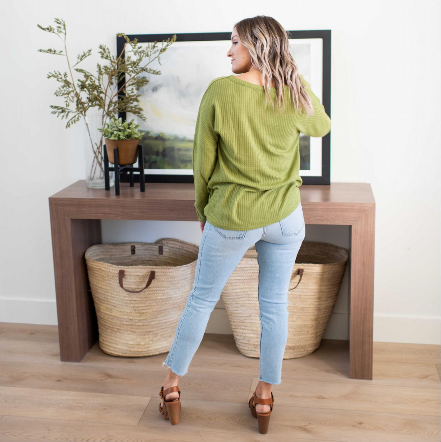 Olive Long Sleeve Top Thermal