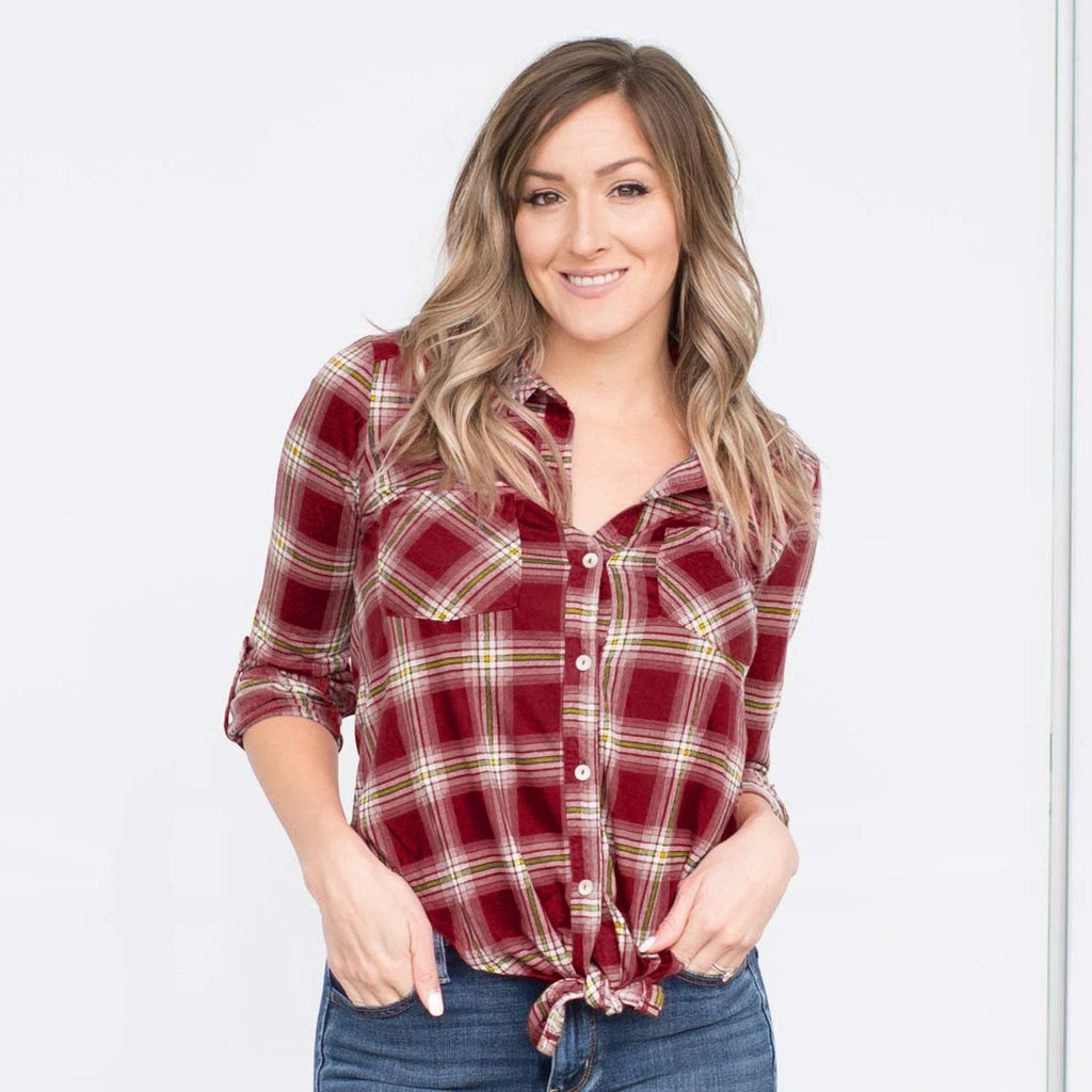 Burgundy Women's Plaid Checks Button Down Shirt Knot Casual Tops Cuffed sleeve S-L