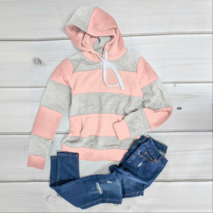 Blush Color Block Soft Fleece Pullover Hoodie