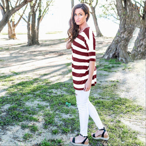 Burgundy Striped Shoulder Boxy Top