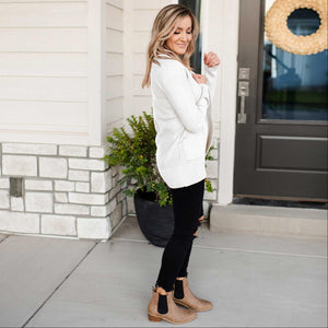 Ivory Shawl Collar Patch Pocket Long Sleeve Open Cardigan