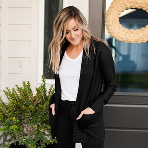 Black Shawl Collar Patch Pocket Long Sleeve Open Cardigan