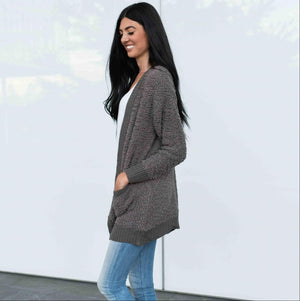 Grey Zenana LONG SLEEVE POPCORN CARDIGAN WITH POCKETS