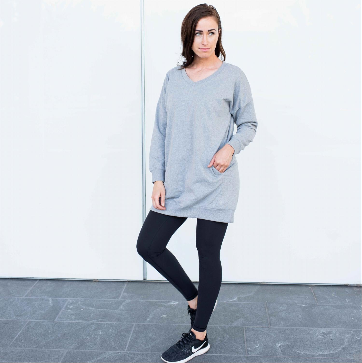 Grey Long Sleeved Pull Over Pocketed Sweatshirt