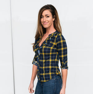 Mustard US Women Ruffle V-neck Fitted Top Long Sleeve Sexy T-Shirt Plaid Casual Blouse