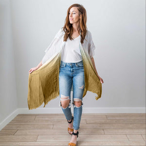 Mustard Fashion Women Boho Floral Loose Shawl Kimono Cardigan Top Cover up Blouse USA