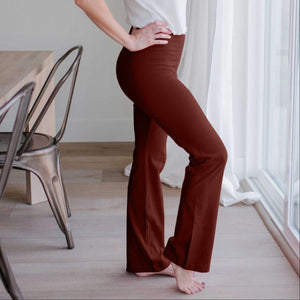 Dark Rust Womens Flare Yoga Pants Premium Cotton Fold Over Elasticated Waistband Spring US
