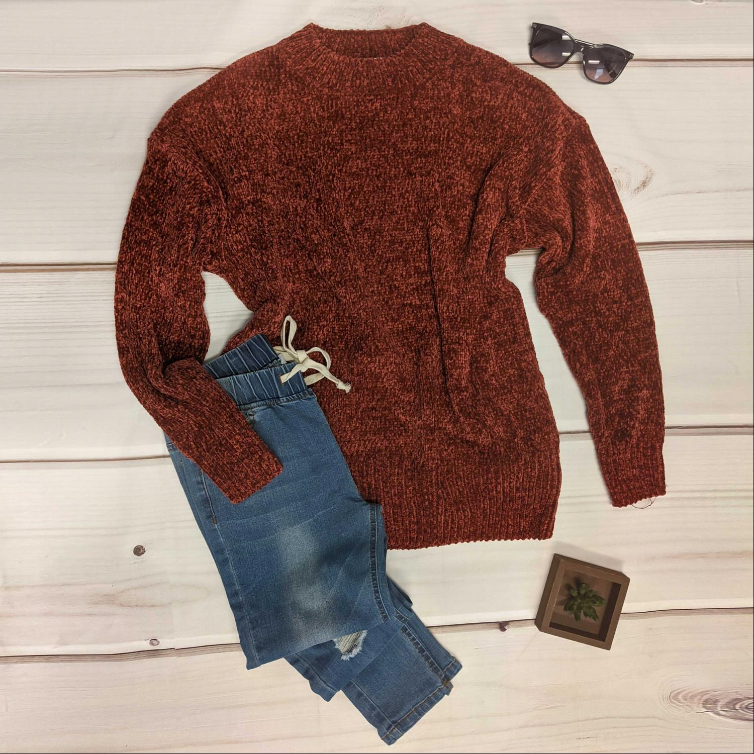 Fire Brick Round Neck Long Sleeve Chenille Sweater