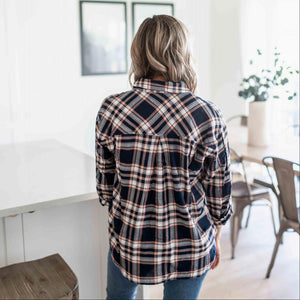 Eclipse Double Flap Pocket Button-up Plaid Shirt With Roll-up Long Sleeves