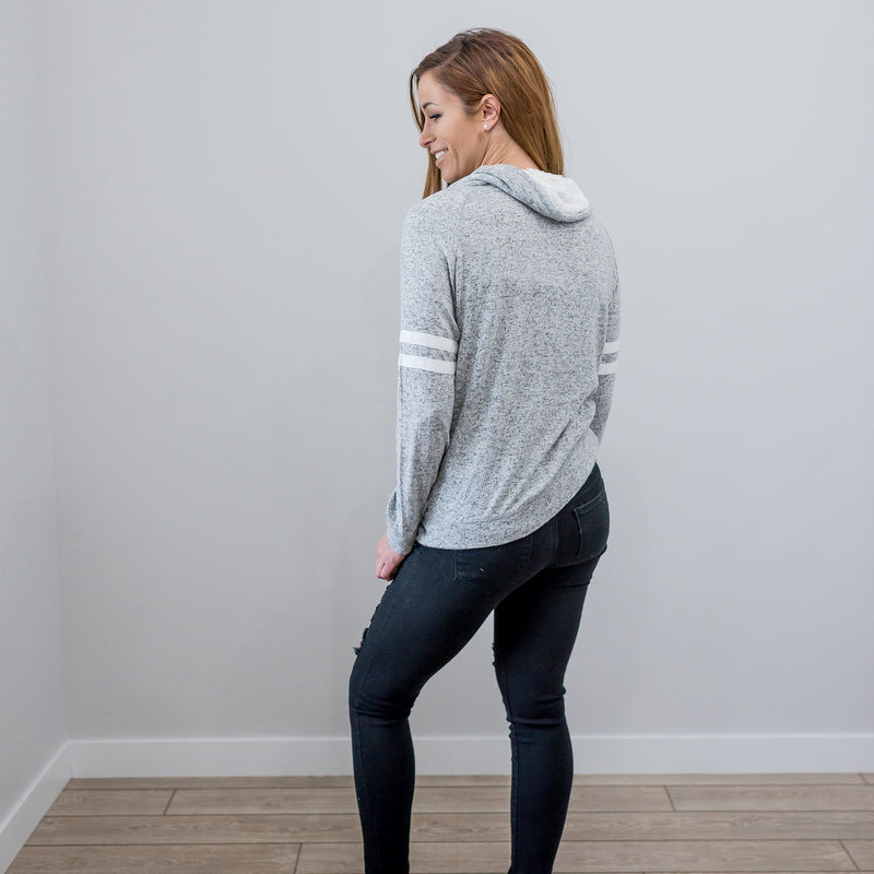 Grey Women Long Sleeve Sweatshirt Cowl Neck Sweater Jumper Pullover Top Sherpa