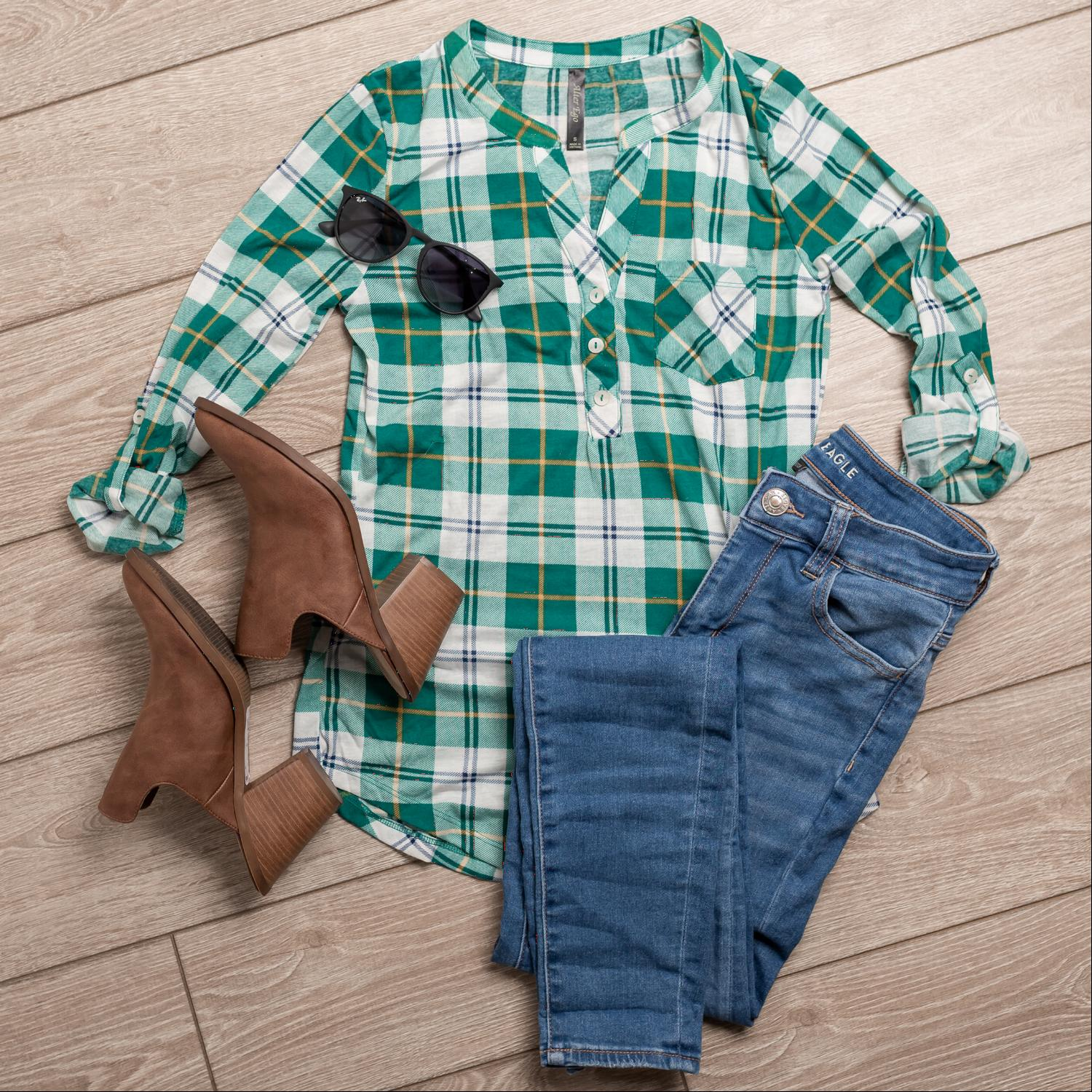 Green Womens Plaid Check Button V-Neck 3/4 Sleeve Henley Top Tee Shirt Office USA