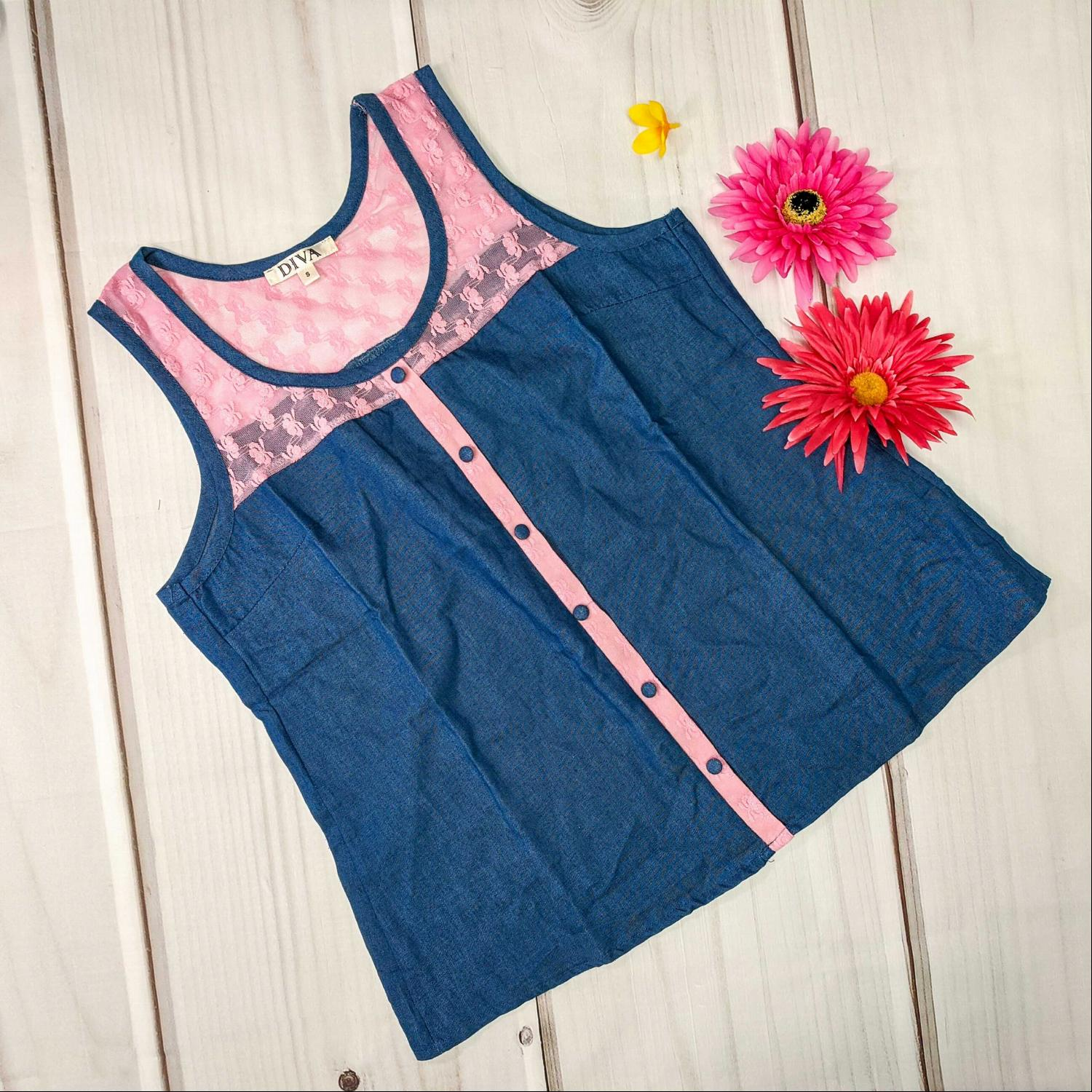 Pink Sleeveless Chambray Button Down Sheer Top